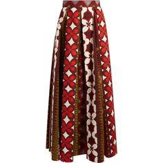 Valentino Cuban Flower-print pleated panama skirt (5.595 BRL) ❤ liked on Polyvore featuring skirts, bottoms, red multi, burgundy pleated skirt, knee length pleated skirt, red print skirt, flower print skirt and print skirt