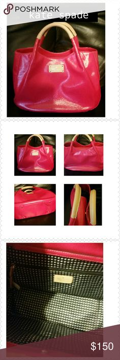 Kate Spade Handbag Genuine Leather Like new and carried only few times. Measures approx width 13.5...height is approx 9 and depth is 5...Hot pink genuine cow leather!!! GORGEOUS kate spade Bags