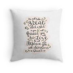 Pretty modern light white, pink design, scripture bible verse Zephaniah 3:17 'he will  Throw Pillows