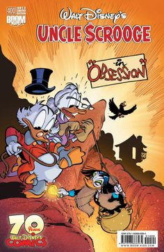 "Celebrating 400 issues of Scrooge and 70 years of Disney comics! ""The Man Who Drew Ducks"" is a tribute to Carl Barks and wife; the cover story is based on Magica's monetary mania (drawn by Daan Jippes; tränslated by Byron Erickson); best o'Barks filler (oh, so good)."