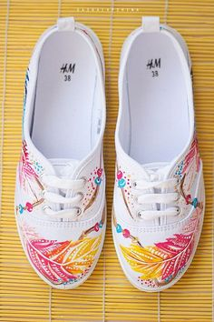 Hand painted Women Boho-style Canvas Shoes, White Sneakers, bohemian colorful shoes: Magic Feathers Hand painted Women Boho-style Canvas Shoes White by SpringHoliday Painted Canvas Shoes, Painted Sneakers, Painted Clothes, Hand Painted Shoes, Women's Shoes, Me Too Shoes, Shoes Sneakers, Shoes Style, Sharpie Shoes