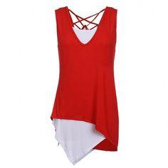 Stylish Lady Women's Fashion Casual 2pcs Irregular Tops Shirts Blouse