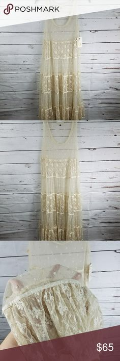 Billabong Lace Cream Sheer Mesh Boho Wedding Dress Hard to find boho style sheer dress. Perfect as lingerie, For a boho wedding or a festival. Billabong Dresses Maxi