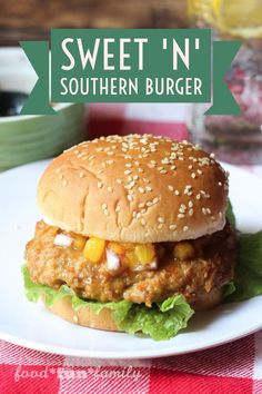 Sweet 'n' Southern Burger - rethink your ordinary burger and make your taste buds happy with these tasty chicken burgers with ginger-peach salsa. They are so easy to make and are sure to become your new favorite go-to burger [sponsored]
