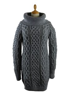05 Cowl Neck Aran Plaited Sweater Dress - Grey/Mid Grey