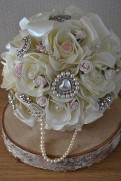Wedding bridal Bouquet Ivory Blush Pink  fabric by FleurDeBeese