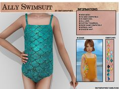 Ally Swimsuit - NEW MESH FOR KIDS. NEW MESH. 15 Swatches. HQ mod compatible. Normal map. Shadow map. Custom thumbnails. Base game compatible. All lods. Download on my blog (No AdFly): HERE Any problem...