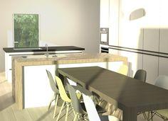 Cuisine à deux îlots dans une villa #kitchen #architecture #3d #eames #france #design #interiordesign #mandelieu #colibristudio