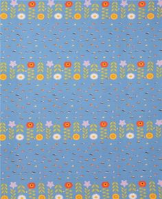 blue cute flower small colorful bird fabric from Japan