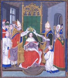 In July 1326, when the future Edward III was 14 years old, he and his mother Queen Isabella, visited the state of Hainault – to find Edward a bride.  The English Plantagenets had been sent a description of one of the Hainault daughters of which there were four: Margaret,Philippa,Jeanne and Isabella. Queen Isabella and the Countess of Hainault were first cousins;thus Edward and Philippa were closely related.This charming illustration shows a young Edward of 14 years crowned King of England.