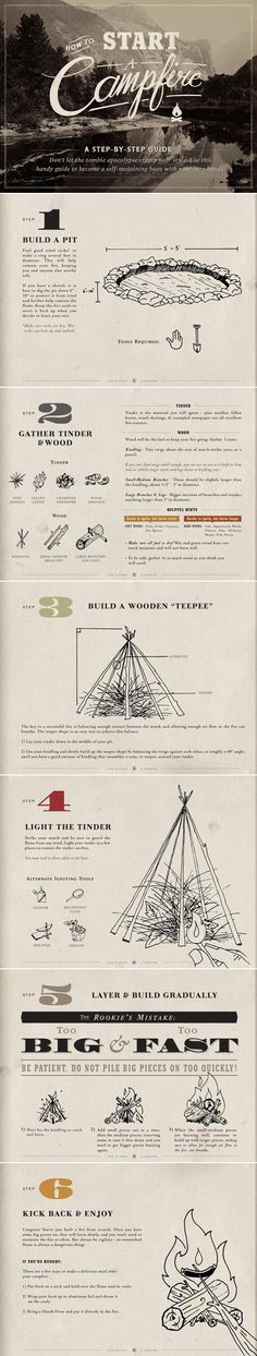 How to Build a Campfire, Infographic//