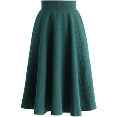 Chicwish Embossed Gingham A-line Skirt in Green (742140 BYR) ❤ liked on Polyvore featuring skirts, green, print skirt, knee length a line skirt, gingham skirt, pattern skirt and green skirt
