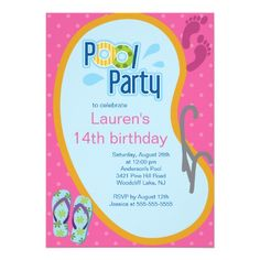 15 best tween birthday party invitations images on pinterest swimming pool party invitation flip flops filmwisefo