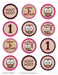 Printable DIY Owl First Birthday Theme 25 by onelovedesignsllc, $4.25