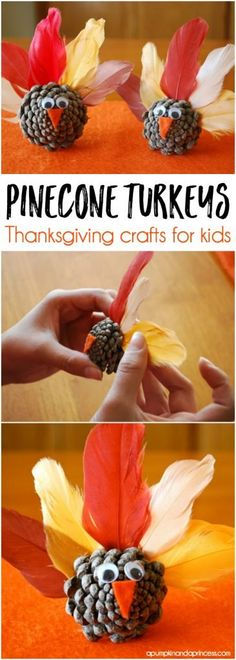 Help the little ones make these DIY Pinecone Turkeys - Thanksgiving craft ideas for kids