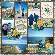 Kits :: Ocean Bliss (page kit) Beach Scrapbook Layouts, Christmas Scrapbook Layouts, Vacation Scrapbook, Wedding Scrapbook, Scrapbook Sketches, Scrapbooking Layouts, Scrapbook Cards, Digital Scrapbooking, Scrapbook Templates