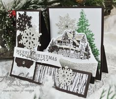 """This 'stair step' card made with the """"Christmas Lodge"""" SU! set.  .pdf instructions available here:  http://ustamp4fun.com/wp-content/uploads/2011/11/StairStepChristmasLodge.pdf"""