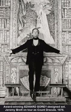 Jeremy Brett as Dracula in a stage production.  Edward Gorey designed the sets.
