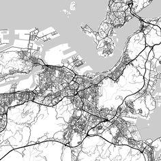 New York City New York downtown map dark Map design Print
