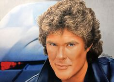 Coloured pencil drawing showing David Hasselhoff as Michael Knight (Knight Rider, 1982)