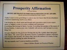 Prosperity affirmation