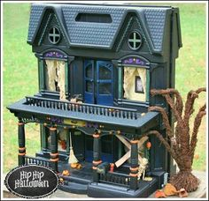 Halloween Craft Ideas - DIY Halloween decorations - she made this from a doll house she found in the trash