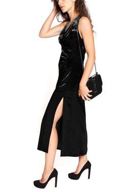 Black panne velvet long dress from Prada