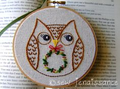 Heres a quick little owl to stitch up -- she cant wait to bring a little cheer to your holiday projects and presents. Included with your PDF