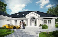Rezydencja Parkowa 3 on Behance Bungalow House Plans, Bungalow House Design, Classic House Design, Modern House Design, Future House, My House, Home Design Floor Plans, Dream House Exterior, Cabana
