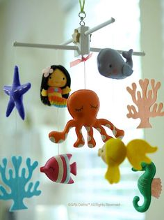 Baby Mobile Mermaid Girl or Boy with Octopus and Under the Sea Fish with FREE Music Box Ocean Nursery, Mermaid Nursery, Nursery Crib, Nautical Nursery, Girl Nursery, Nautical Theme, Nursery Decor, Sea Theme, Mermaid Diy