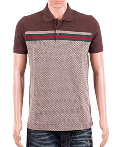 Gucci Mens Polo Shirt Brown with Diamante Print and Front Stripe Signature  (XL) Clout Wear 30f280acd