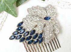 ANTIQUE Sapphire Hair Comb, Art Nouveau/Deco Navy Blue Pave Rhinestone Bridal Accessory 1920s Dress Clip Hairpiece Vintage Great Gatsby Comb by AmoreTreasure