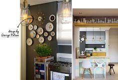 Relógio de George Nelson. Pratos decorativos. Bancada de cozinha industrial. Bancada de azulejos. Pendentes industriais.
