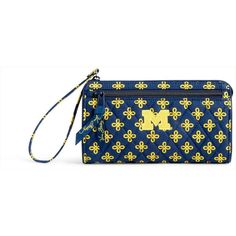 Vera Bradley Michigan Wolverines Wristlet ($50) ❤ liked on Polyvore featuring bags, handbags, clutches, blue, blue handbags, vera bradley handbags, wristlet clutches, vera bradley wristlet and wristlet handbag