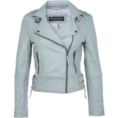 Miss Selfridge Grey Leather Biker Jacket ($26) ❤ liked on Polyvore featuring outerwear, jackets, coats, blue, chaquetas, light grey, motorcycle jacket, blue moto jackets, gray leather jackets and biker jackets