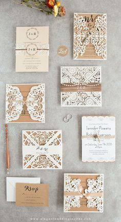 Try these white laser cut wedding invitations with twine for rustic country weddings in spring or fall, custom wedding invitations, cheap wedding invitations, cut wedding invites Cheap Rustic Ivory Laser Cut Gold Glittery Wedding Invitation Spring Fall Country Wedding Invitations, Laser Cut Wedding Invitations, Rustic Invitations, Wedding Invitation Wording, Rustic Wedding Stationery, Cheap Invitations, Invitations Online, Printable Wedding Invitations, Invitation Kits