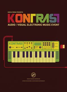 Poster for 'KONTRAST', a curated audio / visual electronic music event, and creative social mixer -by Colorcubic | www.behance.net/colorcubic