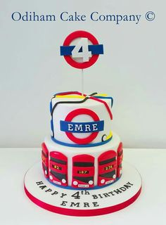 OCC - London underground themed birthday cake. #cake #birthday #london #underground London Party, London Cake, 6th Birthday Cakes, Birthday Stuff, Beautiful Cakes, Amazing Cakes, Lego Friends Cake, Cake Designs For Kids, Train Cakes