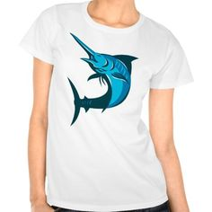 vector illustration of a blue marlin fish jumping on isolated white background done in retro style.