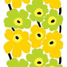 Unikko Stoff - limettengrün-gelb - Marimekko