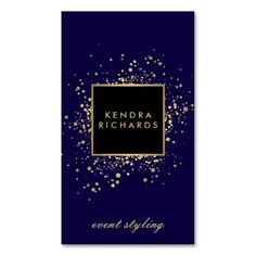 Scattered Faux Gold Confetti on Modern Blue Business Card