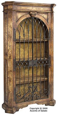 This forged iron style is very common in Old World style homes. Iron vertical bars with ornate forged at each ends. Old World Style Hand Painted Furniture w/ Hand Forged Iron Doors, Hardware & Latches Gothic Furniture, Hand Painted Furniture, Cool Furniture, Medieval Furniture, System Furniture, Furniture Cleaning, Furniture Outlet, Wooden Furniture, Industrial Furniture