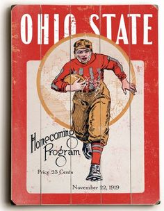 Wood Sign : Ohio State Homecoming Program Cover - Print Vintage