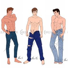"""Andrea Meier Art on Instagram: """"""""JEANS COLLECTION"""" so far by Andrea Meier 👖 In this series you will find the Disney Princes in their jeans, shirtless and barefoot 😜 What…"""" Disney Men, Walt Disney, Disney Artists, Disney Princes, Cartoon Styles, Barefoot, Disney Characters, Fictional Characters, Jeans"""