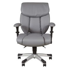 Add the final touch to your office this Sealy memory foam faux-leather desk chair, featuring a cozy design that helps relieve seating fatigue and eliminate hard pressure points. Office Chairs Walmart, Plastic Chair Design, Patterned Armchair, Grey Office, Best Office Chair, Accent Chairs For Living Room, Home Office Furniture, Furniture Chairs, Furniture Design