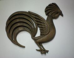 Vintage 1970s Rooster Burwood Products Co. Wall Hanging (I4)