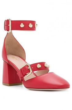 83c36e67133da Red leather pumps from REDValentino featuring a mid high block heel, a pointed  toe and