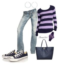 """Purple"" by irene541 ❤ liked on Polyvore featuring Lord & Taylor, Dsquared2, Converse, Old Navy, Mulberry and Ice-Watch"