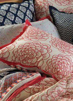 Organic Cotton Block Print Bedding - Indigo Jaya & Red Dahlia I www.celadonathome.com