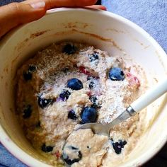Berries n Cream Proatmeal to start the day. I used 1/2 cup quick oats, 1 cup water, 1/2 cup egg whites, half scoop About Time whey, vanilla cinnamon, 1/2 cup chopped strawbs, cup of fresh blueberries, & 1/3 cup greek nonfat plain yogurt! Smelled and tasted like legit sugar cookie dough #proats #proatmeal #eggwhiteoats #eggwhiteoatmeal #oatmeal #proteinoatmeal #healthyeating #healthycooking #healthybreakfast #eatclean #cleaniifym #cleaneating #iifym